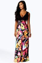 Boohoo Kiera Rose Print Maxi Dress Black