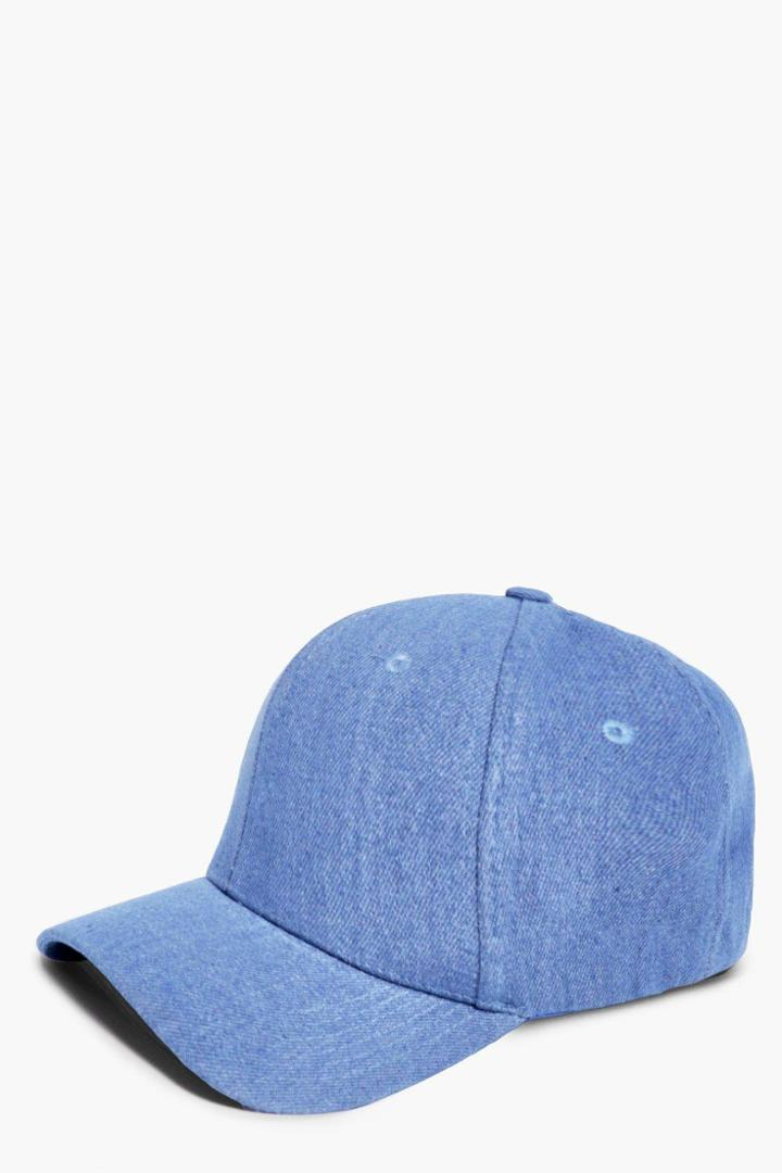 Boohoo Harriet Denim Baseball Cap Blue