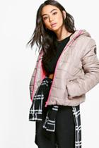 Boohoo Isabella Quilted Jacket With Contrast Zipper Stone