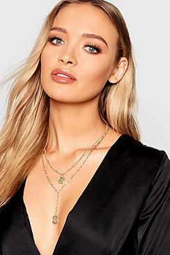 Boohoo Coin Layered Necklace