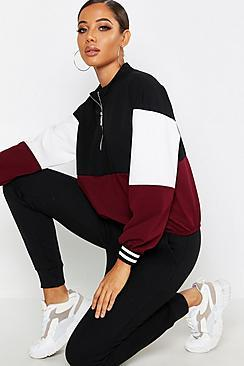 Boohoo Woven Colour Block Half Zip Sweat