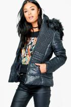 Boohoo Grace Padded Jacket With Faux Fur Hood Black