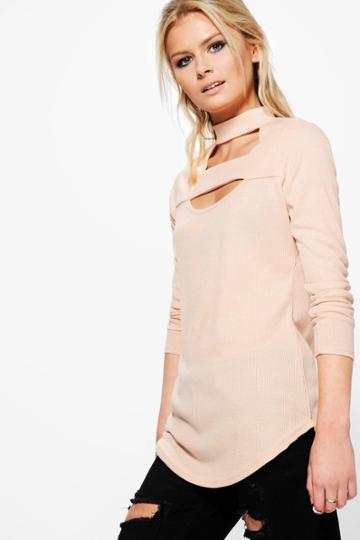 Boohoo Jasmine Double Strap Neck Rib Top Blush