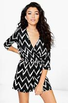 Boohoo Wendy Wrap Front Playsuit