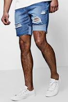 Boohoo Slim Fit Panelled And Distressed Denim Shorts