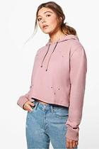 Boohoo Willow Distressed Washed Hoody