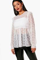 Boohoo Melanie Lace Shirred Top