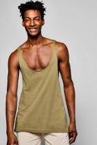 Boohoo Extreme Racer Back Tank Top With Raw Edge Khaki