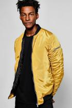 Boohoo Mustard Ma1 Bomber Jacket With Ruched Back Mustard