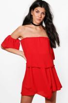 Boohoo Rita Bardot Wrap Dress Red