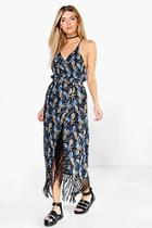 Boohoo Ana Floral Fringe Strappy Midi Dress