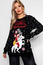 Boohoo Plus Santa And Unicorns Christmas Jumper