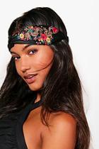 Boohoo Kate Oriental Embroidered Satin Turban Headband