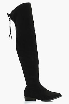 Boohoo Alicia Wide Fit Flat Suedette Over The Knee Boot