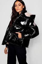 Boohoo Hooded Vinyl Puffer Jacket