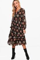 Boohoo Bree Bohemian Print Ruffle Hem Smock Dress