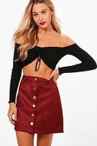 Boohoo Bonded Suede Button Through Mini Skirt