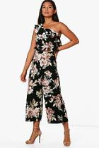 Boohoo Rebecca Floral Frill Crop And Culotte Co-ord Set