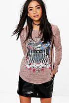 Boohoo Kerry Printed Long Sleeve Band Tee