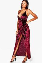 Boohoo Ola Crushed Velvet Wrap Maxi Dress