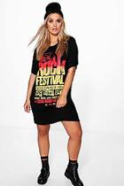 Boohoo Plus Katie Band Slogan Tshirt Dress