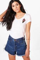 Boohoo Abbie Retro Sequin Badge Tee White