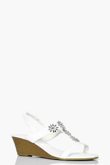 Boohoo Lucy Floral Embellished Wedge White