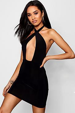 Boohoo Petite Alex Slinky Twist Front Bodycon Dress