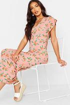 Boohoo Fruit Print Angel Sleeve Maxi Dress