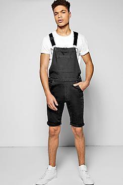 Boohoo Slim Fit Denim Dungaree Shorts