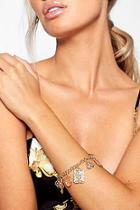 Boohoo Sovereign & Rose Charm Bracelet