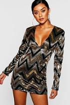 Boohoo Sequin Long Sleeve Plunge Bodycon Dress