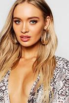 Boohoo Filigree Leaf Hoop Earrings