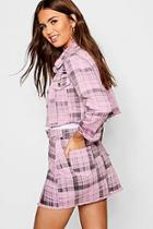 Boohoo Pink Check Denim Skirt