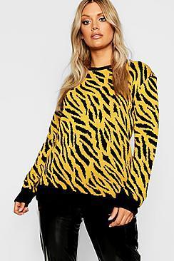 Boohoo Plus Animal Knitted Jumper