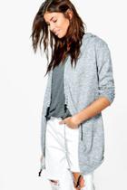 Boohoo Amy Brushed Knit Hooded Jacket Grey