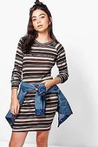 Boohoo Lina Stripe Brushed Knit Bodycon Dress