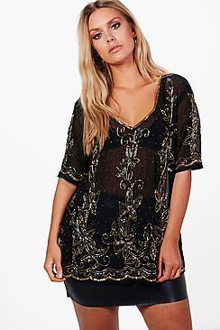 Boohoo Plus Charlotte V Neck Heavy Embellished Top