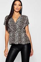 Boohoo Leopard Print Peplum Wrap Woven Top