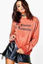 Boohoo Tilly Washed Slogan Sweatshirt