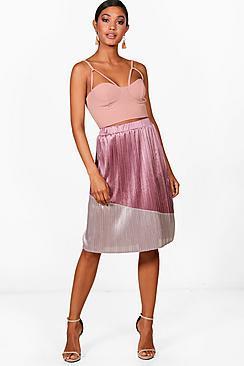 Boohoo Jessica Colour Block Pleated Satin Midi Skirt