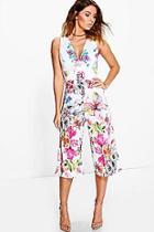 Boohoo Jill Cross Back Floral Culotte Jumpsuit