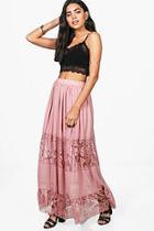 Boohoo Lace Panelled Chiffon Maxi Skirt