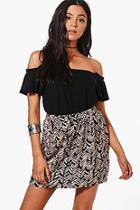 Boohoo Paula Arrow Print Skirt