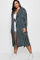 Boohoo Stripe Trench Coat