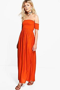 Boohoo Petite Bryony Off The Shoulder Shirred Dress