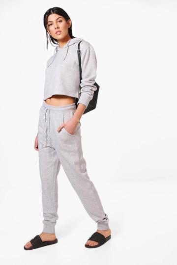 Boohoo Lizzie Crop Hoodie + Jogger Set Grey