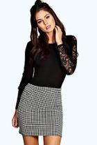 Boohoo Dena Dogstooth Bodycon Mini Skirt