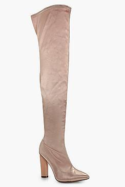 Boohoo Aimee Satin Thigh High Boot