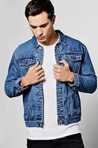 Boohoo Blue Wash Denim Jacket